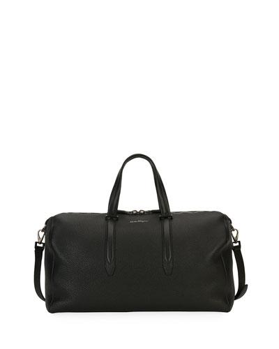 Firenze Leather Weekender Duffel Bag, Gray