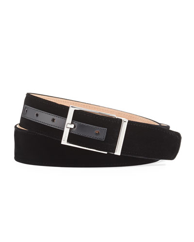Square-Buckle Formal Velvet Belt