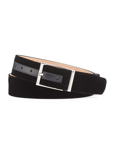 Men's Square-Buckle Formal Velvet Belt