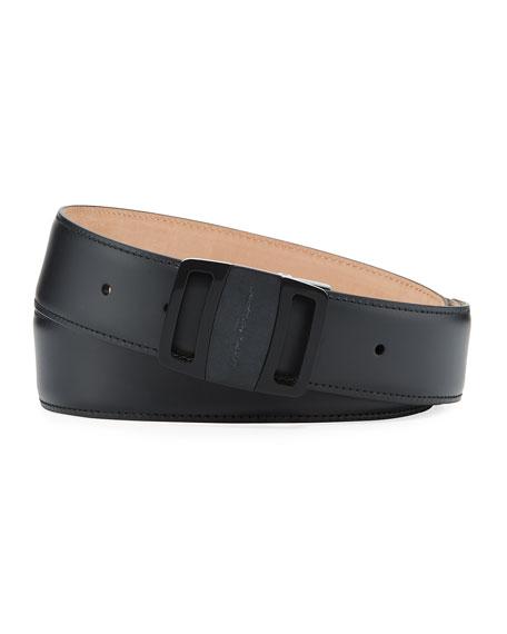 Men's Tonal Leather Buckle Belt, Black