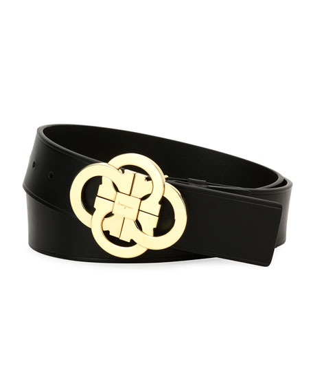 Salvatore Ferragamo Flower-Gancini Leather Belt, Black/Gold