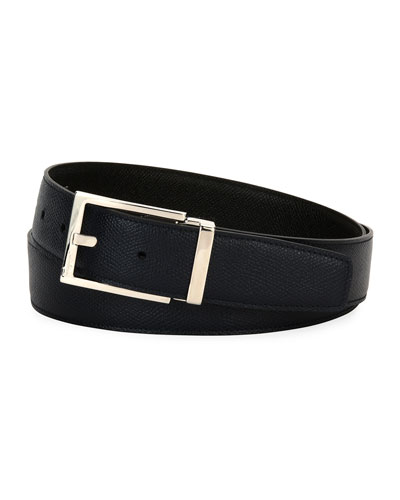 Square-Buckle Reversible Leather Belt, Navy