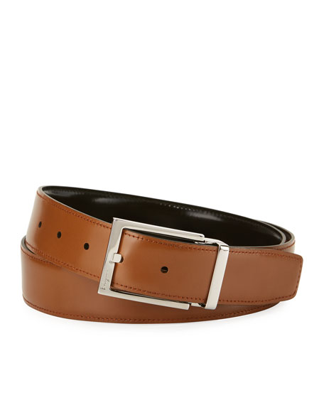 Reversible Lux Calfskin Leather Belt, Black/Brown