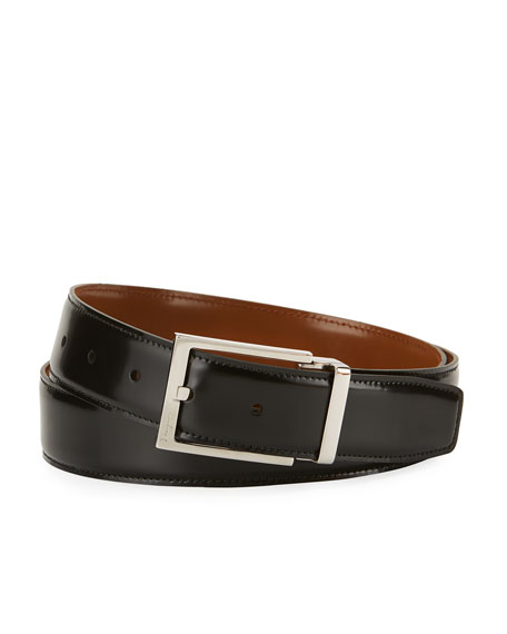 Men's Reversible Lux Calfskin Leather Belt, Black/Brown