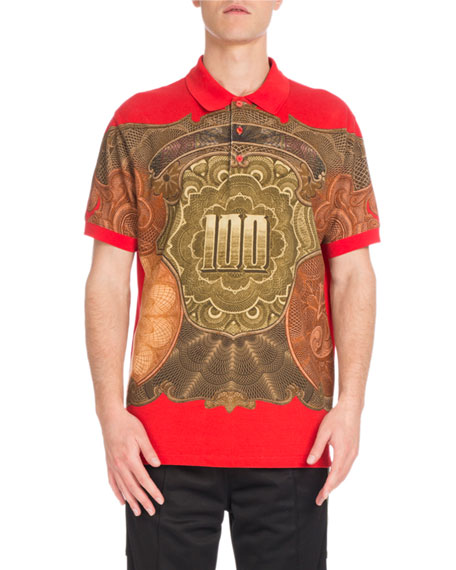 Columbian-Fit Money-Print Polo Shirt, Red