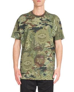Columbian Camo Money-Print Ringer T-Shirt, Khaki