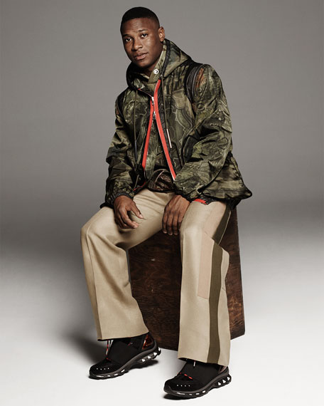 Camo Money-Print Hooded Short Parka Jacket, Khaki