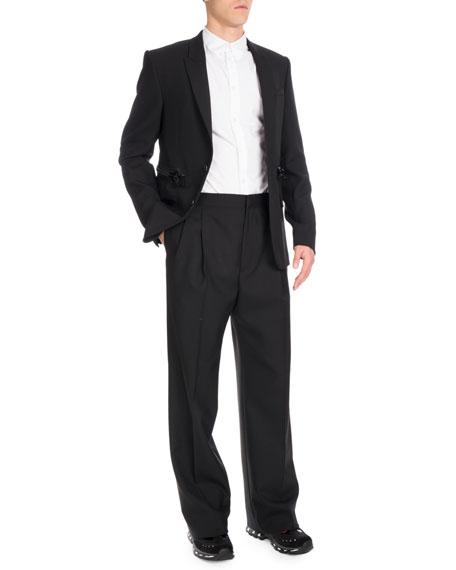 Zipper-Waist Two-Button Sport Jacket, Black