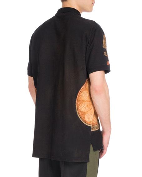 Columbian-Fit Money-Print Full-Zip Polo Shirt, Black