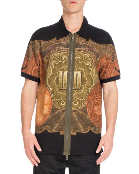 Givenchy Columbian-Fit Money-Print Full-Zip Polo Shirt, Black