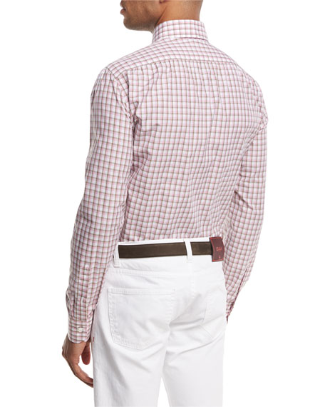 Box-Check Sport Shirt, Pink/Brown