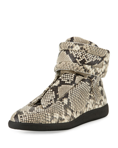 76421c8128b7 Maison Margiela Men's Future Python-Embossed Leather High-Top Sneakers,  Natural
