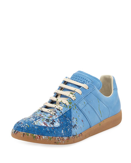 Pollock Men's Paint-Splatter Leather & Suede Low-Top Sneaker, Blue