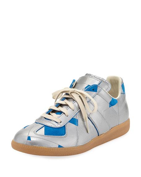 Men's Replica Duct-Tape Low-Top Sneaker, Silver/Blue