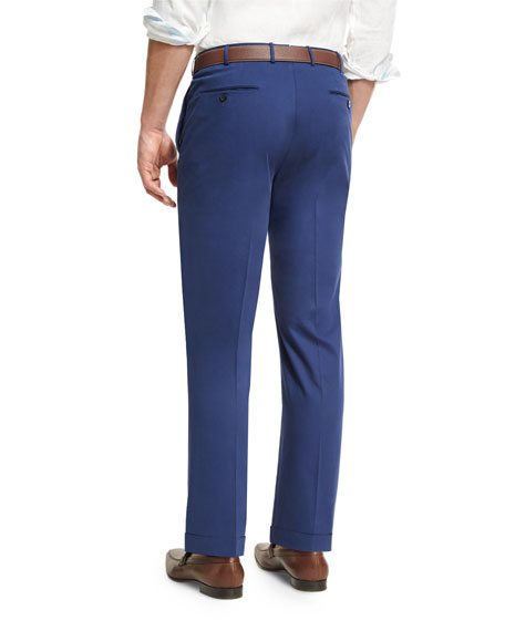 Cashmere-Cotton Flat-Front Trousers, Blue