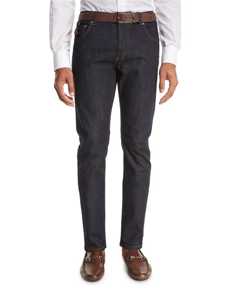 Light Wash Straight-Leg Jeans, Blue