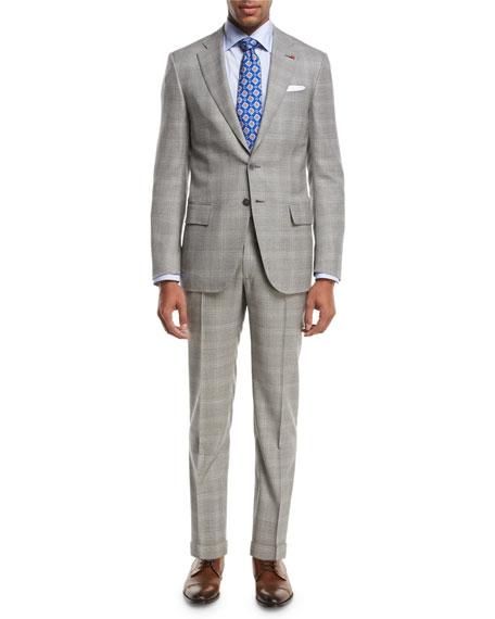 Plaid Super 130s Wool Two-Piece Suit, Light Gray