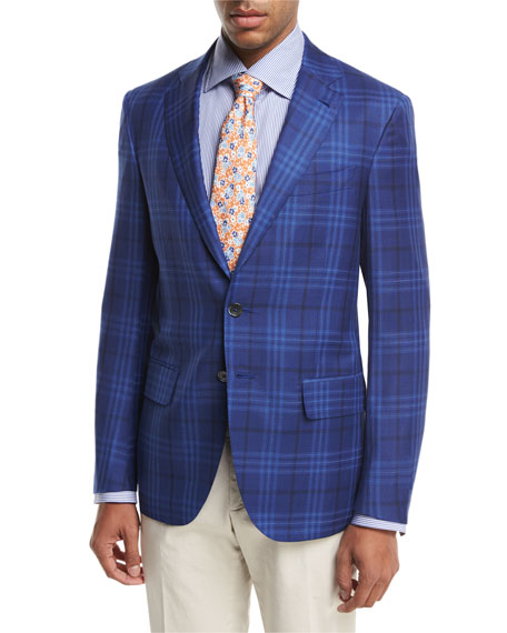 Isaia Sanita Plaid Super 140s Wool Two-Button Sport