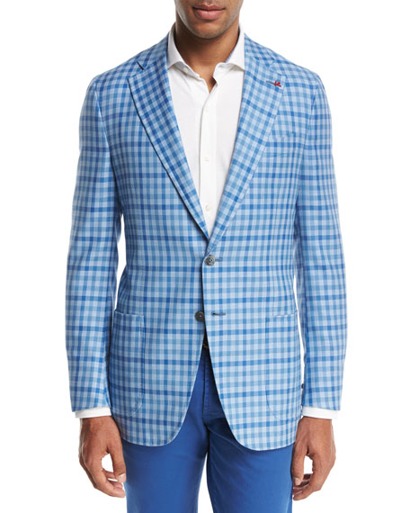 Isaia Domenico Gingham Two-Button Sport Coat, Light Blue/White