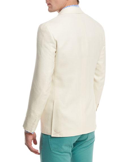 Textured Peak-Lapel Two-Button Blazer, Crème