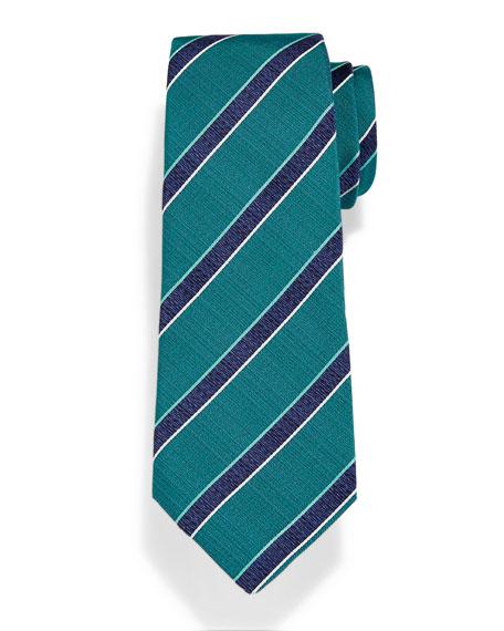 Isaia Diagonal Woven-Stripe Herringbone Tie
