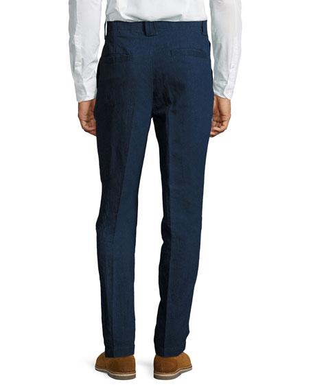 Panama-Fit Dark-Rinse Denim Pants, Blue