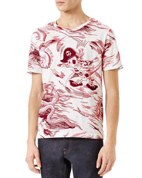af7ccab3 Gucci Donald Duck Toile T-Shirt, Red