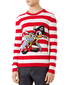 21401b7bfcf Gucci Striped Donald Duck Crewneck Sweater
