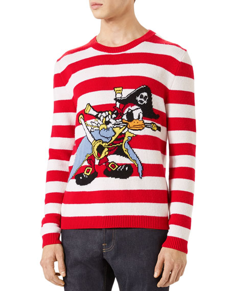 gucci striped donald duck crewneck sweater red