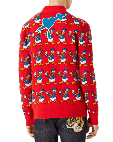 Gucci Donald Duck Cardigan Sweater Red