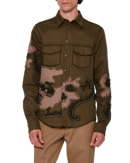 Unfinished-Hem Panther-Embroidered Military Shirt, Olive