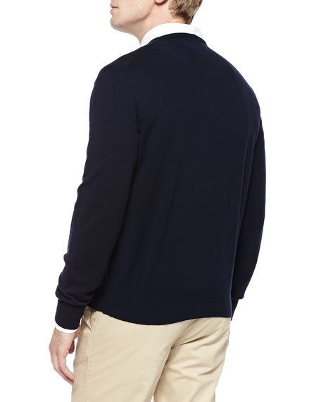 Baby Cashmere V-Neck Sweater, Blue Navy