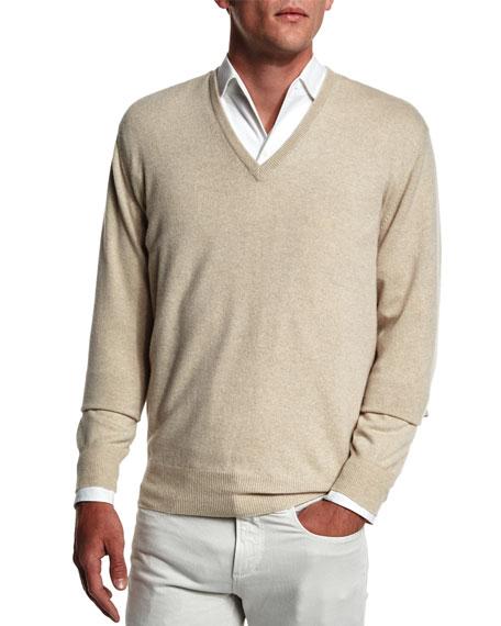 Baby Cashmere V-Neck Sweater, Beige