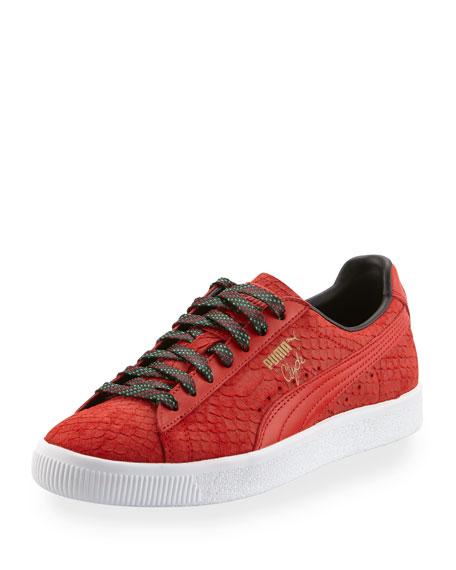 36075c4f2b56 Puma Men s Clyde GCC Snakeskin-Embossed Leather Low-Top Sneakers
