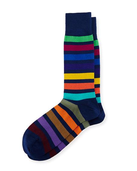 Bright Rainbow Stripe Colorblock Socks