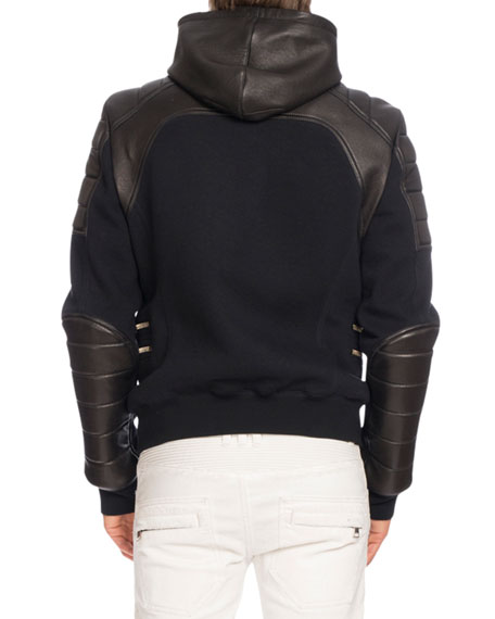 Leather-Paneled Biker Sweatshirt-Jacket, Black