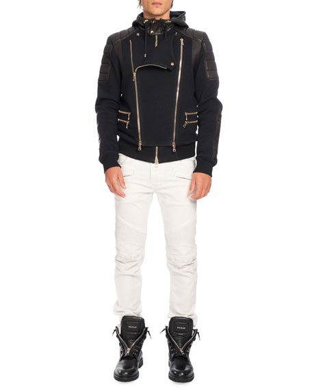 Leather-Paneled Biker Sweatshirt-Jacket, Black