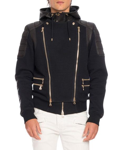 Balmain Leather-Paneled Biker Sweatshirt-Jacket, Black