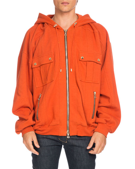 Balmain Oversized Utility Zip Hoodie, Orange