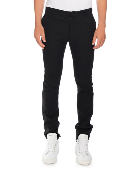 Slim Smoking Pants with Side Stripe, Black