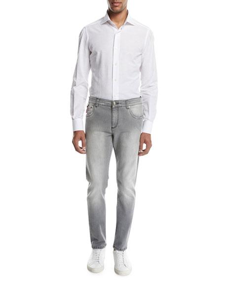 Washed Denim Slim-Straight Jeans, Light Gray