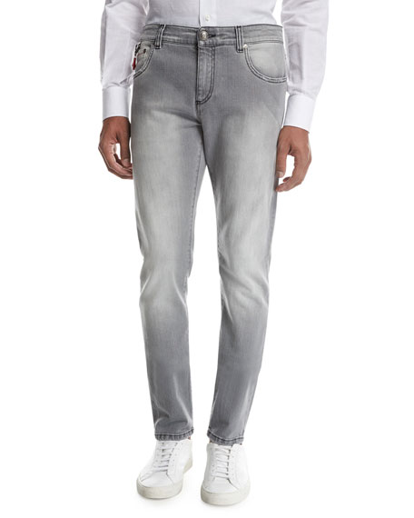 Isaia Washed Denim Slim-Straight Jeans, Light Gray