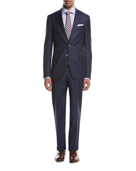 Gregorio Striped Wool Two-Piece Suit, Navy