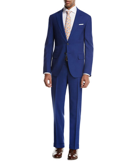 Isaia Sanita Solid Wool Two-Piece Suit, High Blue