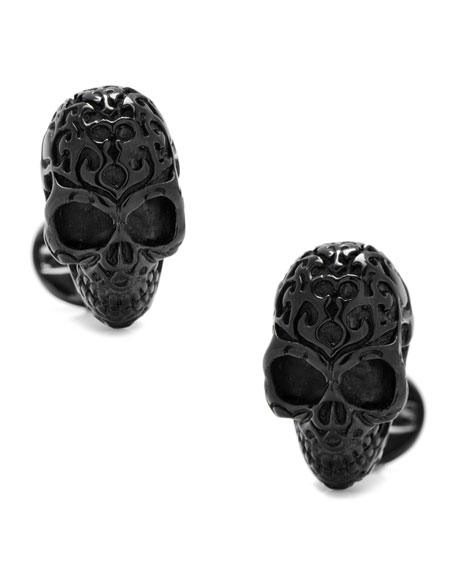 Cufflinks Inc. 3D Fatale Skull Cuff Links, Black