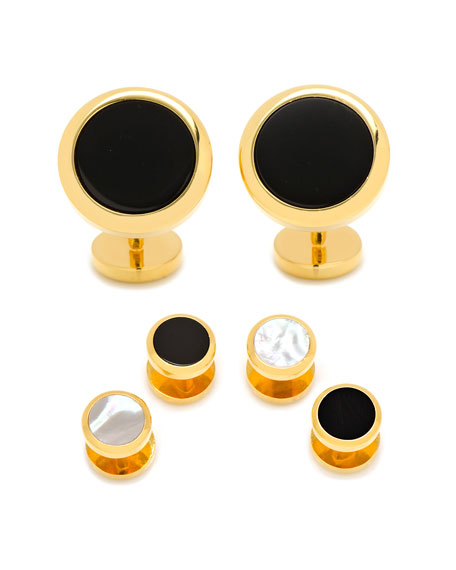 Double-Sided Onyx & Mother-of-Pearl Cuff Links & Stud Set