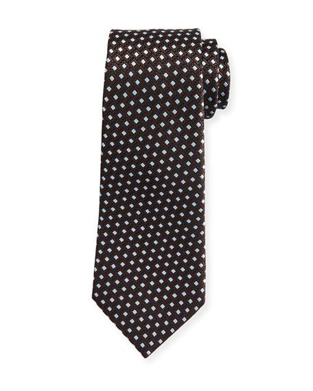 Ermenegildo Zegna Textured Rib-Ground Silk Tie, Brown