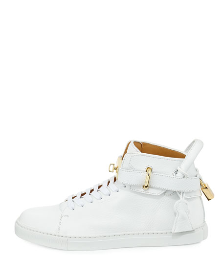 100mm Golden-Padlock Sneakers, White