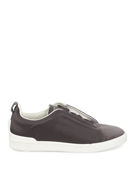 Couture Men's Triple-Stitch Leather & Suede Low-Top Sneakers, Gray