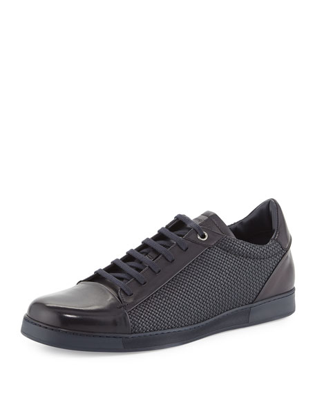 Pelle Tessuto Woven Leather Low-Top Sneaker, Navy
